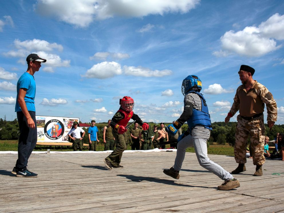 PHOTO: The third day of Orthodox Warrior camp is a day of knife fighting, a popular Russian sport. The camp takes place in Diveevo, the center of pilgrimage for Orthodox Christians in Russia, Aug. 5, 2016.