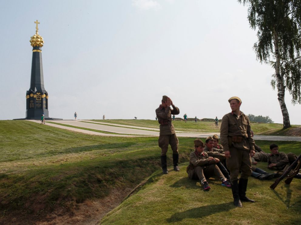PHOTO: A unit dresses to re-enact Soviet Russia during WWII as part of their historical education at the Historical-War Camp, in Borodino, Russia, July 26, 2016.