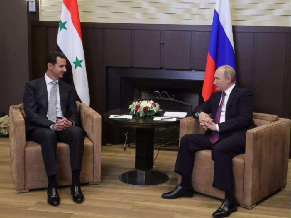 PHOTO: Syrian President Bashar al-Assad met with Russias Vladimir Putin in Sochi on Monday.