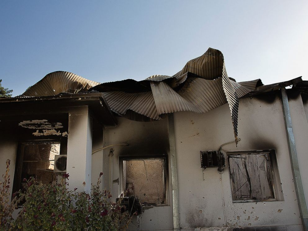 PHOTO:The twisted remains of the main building of MSFs hospital in Kunduz hit by U.S. airstrikes on October 3, 2015.