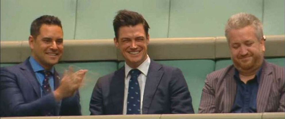 "Ryan Bolger has a big smile across his face after saying ""yes"" to Austrilian PM Tim Wilsons proposal."