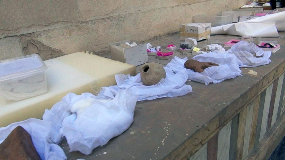 Ancient artifacts from the National Museum of Damascus' collection are being packed away.