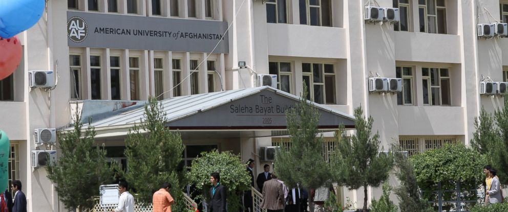 PHOTO: The entrance of the Saleha Bayat Building at the American University of Afghanistan in Kabul is pictured on May 26, 2011.