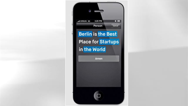 """PHOTO:The new app """"Amen,"""" from a Berlin-based start-up, aims to help users pass judgement, and the app does the rest."""