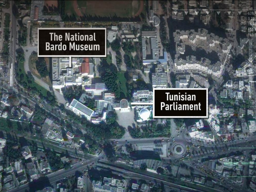 PHOTO: A map showing the location of The National Bardo Museum and Tunisian Parliment in Tunis, Tunisia.