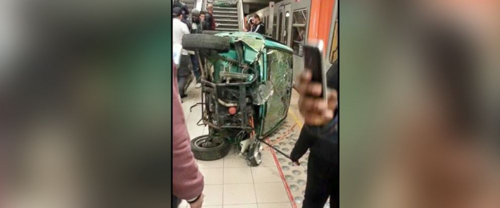 PHOTO: A video posted to YouTube on Dec. 31, 2015, appears to show a group of teenagers throwing a car down the stairs of a subway station in Brussels.
