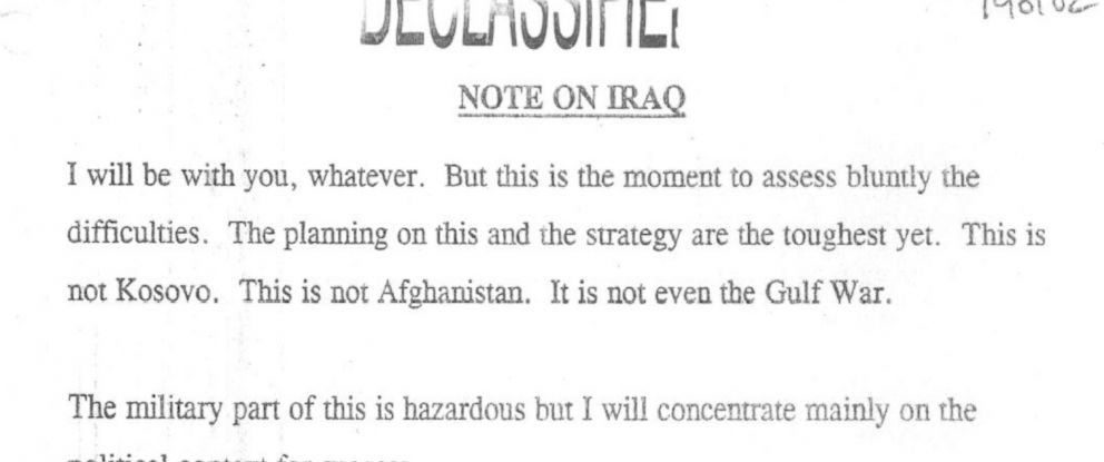 PHOTO: An excerpt of a note Tony Blair wrote to George W. Bush on December 4, 2001 before the invasion of Iraq.