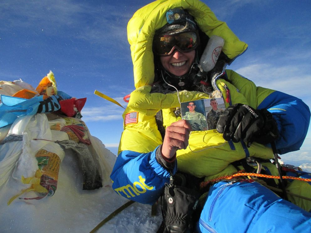 PHOTO: Capt. Elyse Ping Medvigy, an active-duty field artillery officer currently assigned to the 4th Infantry Division at Fort Carson, Colorado, was the first to summit Mount Everest from Team USX, May 24, 2016.