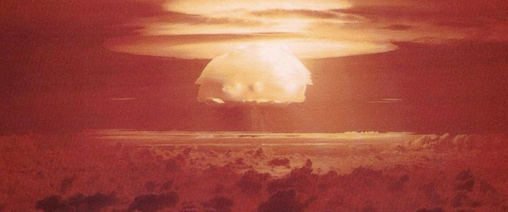 PHOTO: Nuclear weapon test Bravo (yield 15 Mt) on Bikini Atoll. The test was part of the Operation Castle. The Bravo event was an experimental thermonuclear device surface event.