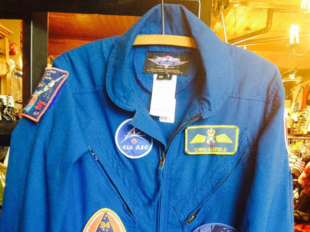 PHOTO: Chris Hadfields flight suit in the vintage store.