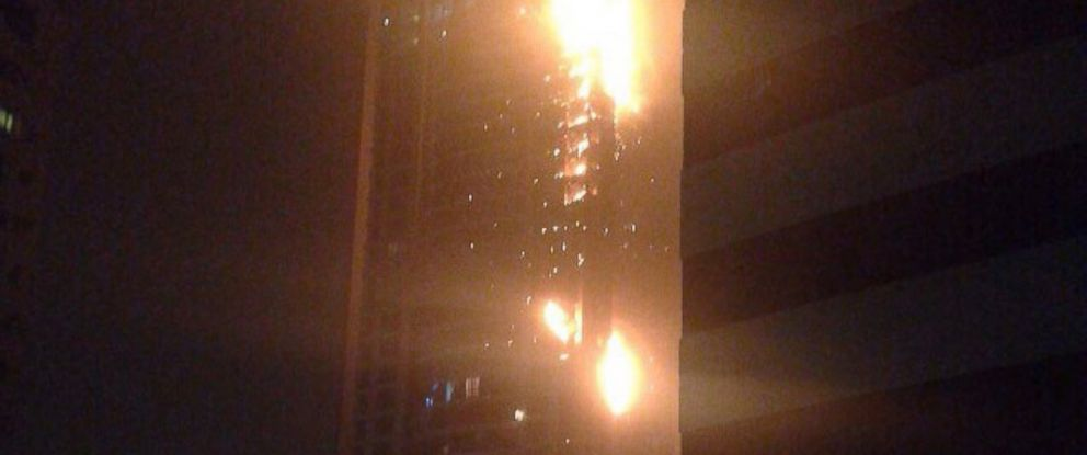 PHOTO: In this Instagram image a fire is seen burning in a skyscraper in Dubai, Feb. 20, 2015.