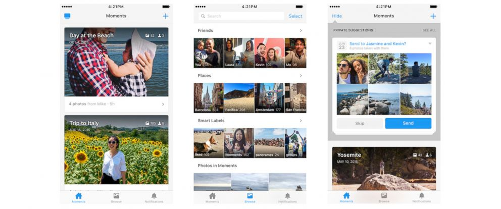 PHOTO: Facebooks Moments app is seen here in screenshots from the iTunes app store.
