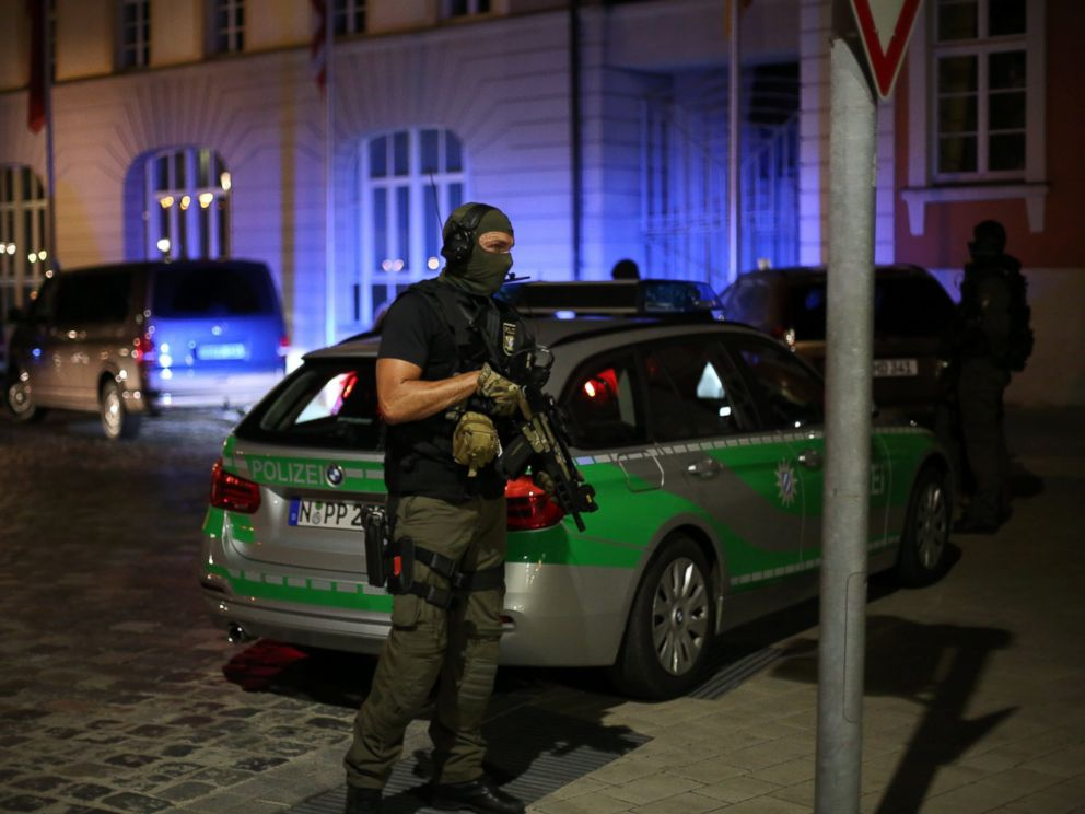 PHOTO: Police stand guard following an explosion that injured at least 10 people and killed the person suspected of setting off the blast in Ansbach, Germany, July, 24, 2016.