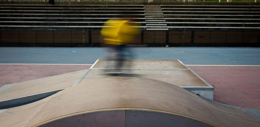 PHOTO: Skater flies by, tells ABC News: ?I just wanna? ride, you know??