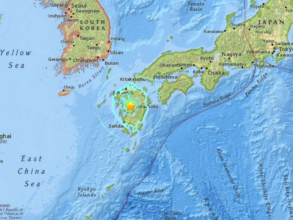 PHOTO: A 7.0 magnitude earthquake hits Japan, according to USGS, April 15, 2016.