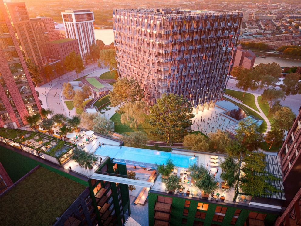 PHOTO: Plans for a suspended swimming pool named Sky Pool have been unveiled for Embassy Gardens - the residential heart of Londons newest neighborhood, Nine Elms on the South Bank.