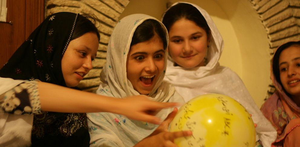 PHOTO: Malala Yousafzai,11, with her friends at summer camp.