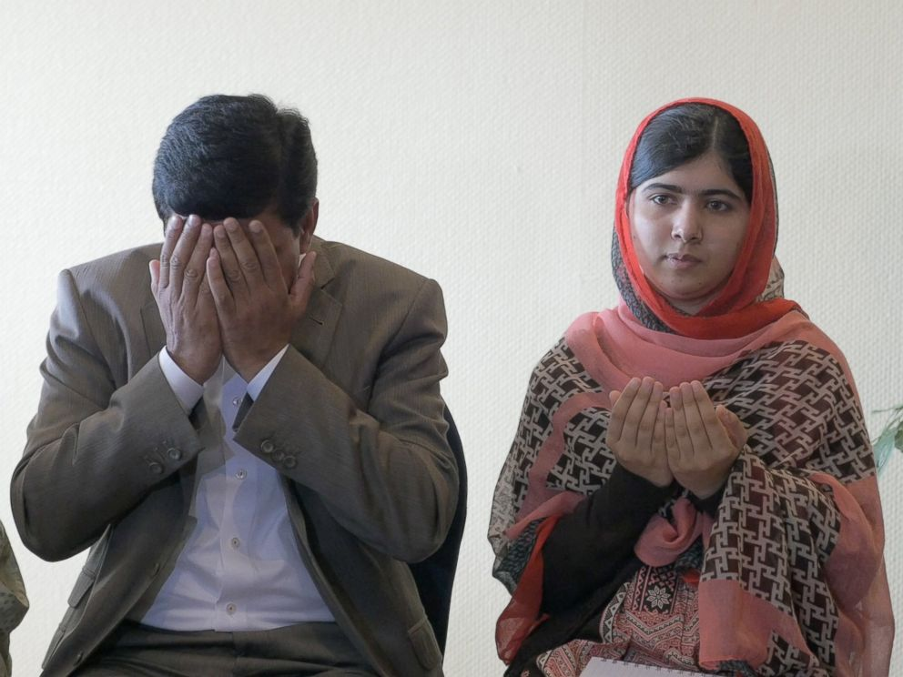 PHOTO: Malala Yousafzai and her father, Ziauddin meeting with parents of the Nigerian girls kidnapped by Boko Haram.