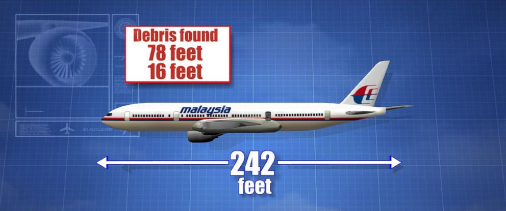 PHOTO: Graphic illustration details the length, in feet, of the Boeing 777 Malaysia Airlines Flight 370 plane.