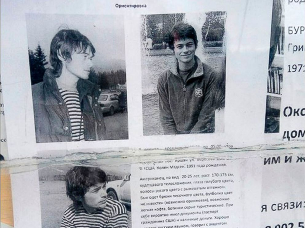 PHOTO: A missing persons poster of Colin Madsen is seen here, a U.S. student that went missing in Eastern Siberia.