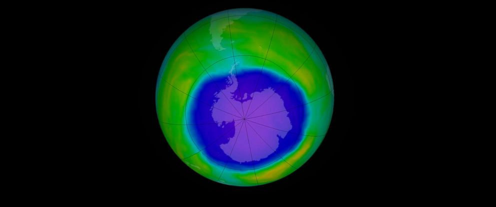PHOTO: This false-color image shows ozone concentrations above Antarctica on Oct. 2, 2015.