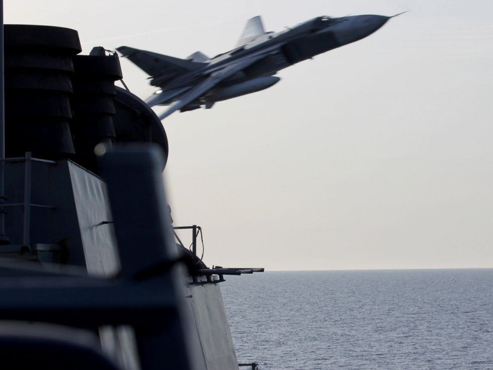 PHOTO: The US European Command released this photo of a Russian SU-24 fighter jets close pass over the USS Donald Cook earlier this week in the Baltic Sea.