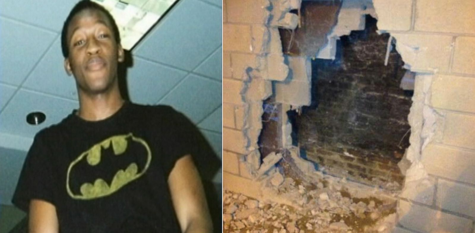 PHOTO: At left, Asher Vongatu; at right, the hole in the wall that was cut in order to retrieve him