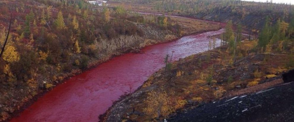 PHOTO: Photos posted by local residents on social media appear to show the Daldykan river close to Norilsk has turned blood red.