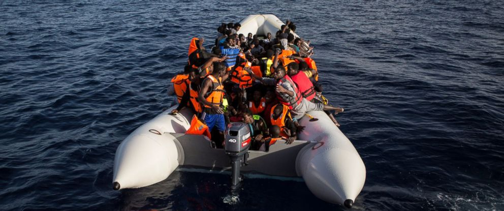 PHOTO: Refugees and Migrants being rescued in the Mediterranean in June 2016.