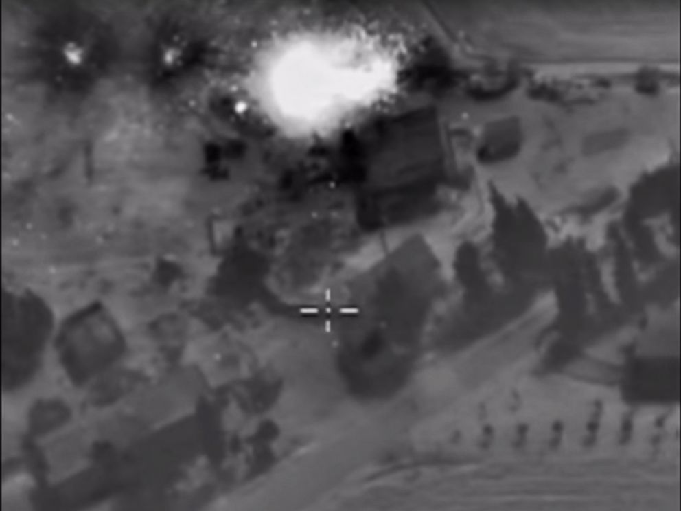 PHOTO:The Russian Defence Ministry released a video of Russian airstrikes, Oct. 1, 2015.