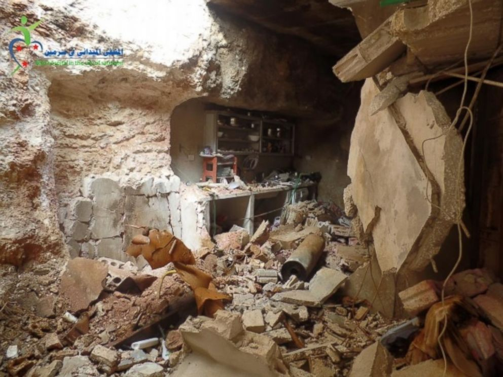 PHOTO:The basement of a home which SAMS claims was hit by a chlorine-filled barrel bomb dropped by the Syrian government on March 16, 2015 is seen in this photo. ABC News cannot independently confirm the authenticity of this photo.