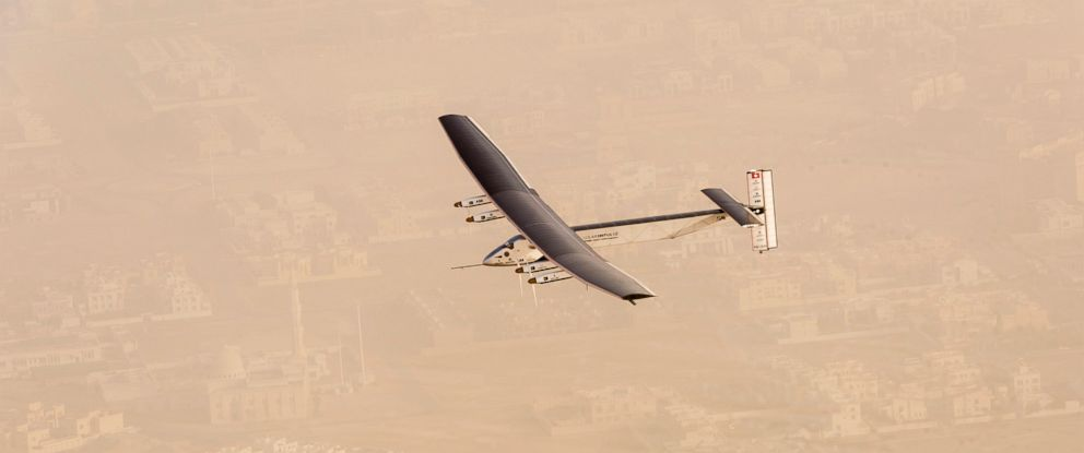 """PHOTO: """"Solar Impulse 2"""", flies after taking off from Al Bateen Executive Airport"""