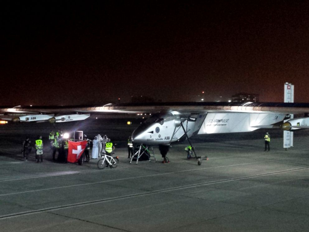 PHOTO: The Solar Impulse 2 prepares to depart at an airport in Abu Dhabi, United Arab Emirates