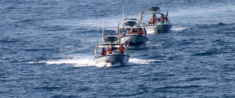 PHOTO: US Navy photo of three Iranian Revolutionary Guard small craft that intercepted the U.S. Navy destroyer USS Nitze near the Strait of Hormuz on August 23, 2016.