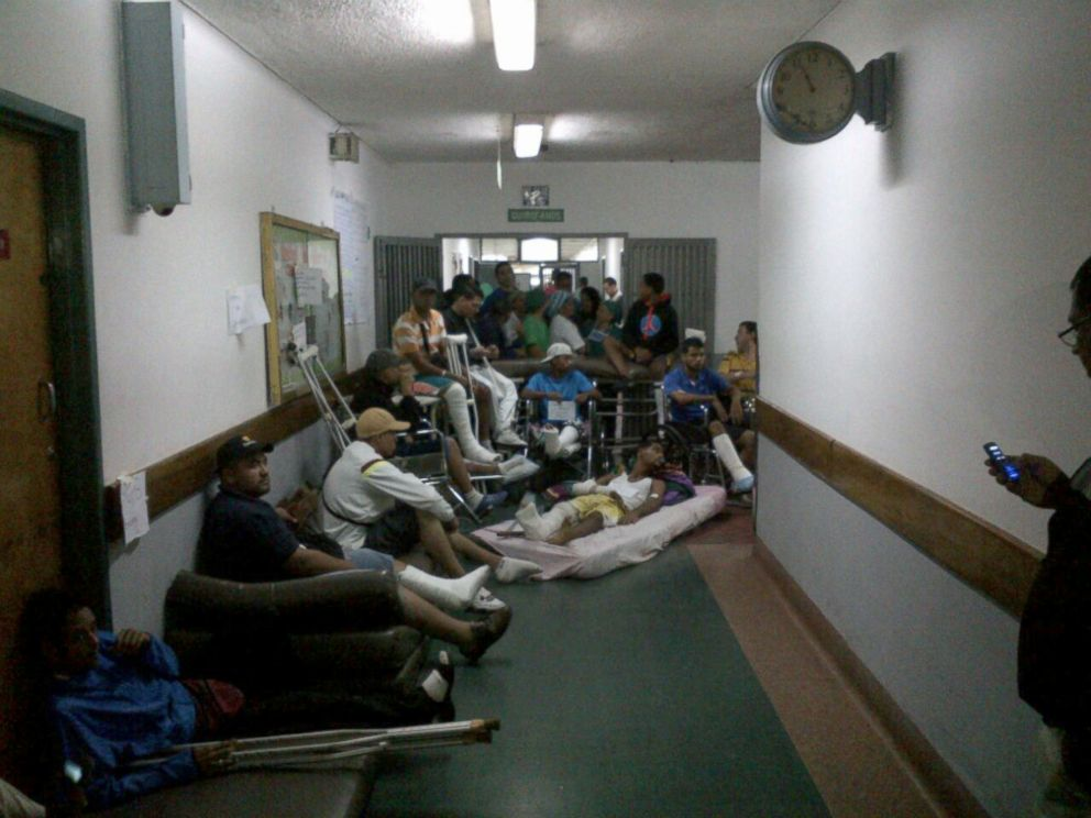 PHOTO: At Venezuelas Hospital Universitario in Caracas, neurosurgery patients staged a protest in front of the operating rooms demanding treatment on June 30, 2016.