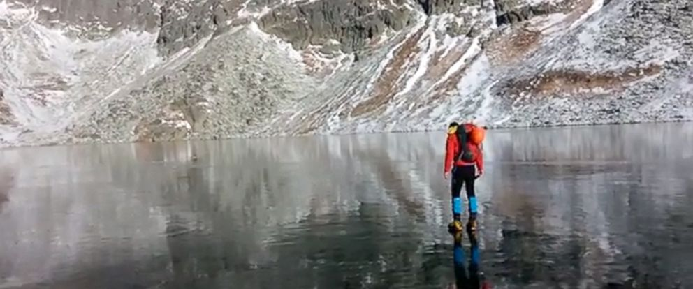 "PHOTO: The video, titled ""Walking on beautiful clean ice in Slovakian Mountains,"" is described as being taken in the High Tatras Mountains in Slovakia."