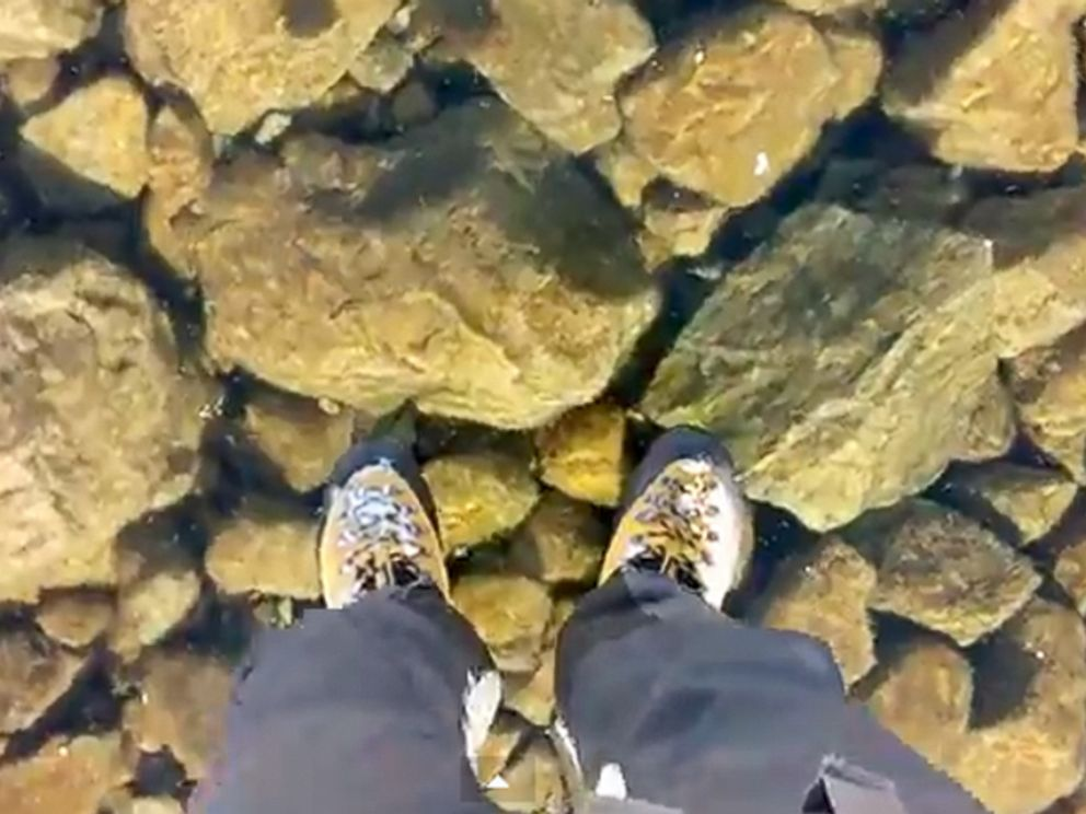 PHOTO: The video, titled Walking on beautiful clean ice in Slovakian Mountains, is described as being taken in the High Tatras Mountains in Slovakia.