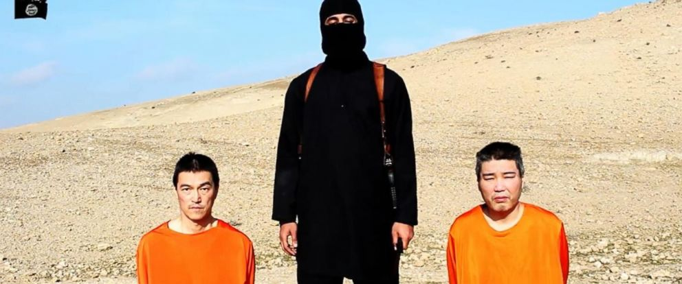 PHOTO: Two Japanese citizens appear in a video released by the terror group ISIS overnight Jan. 19, 2015.