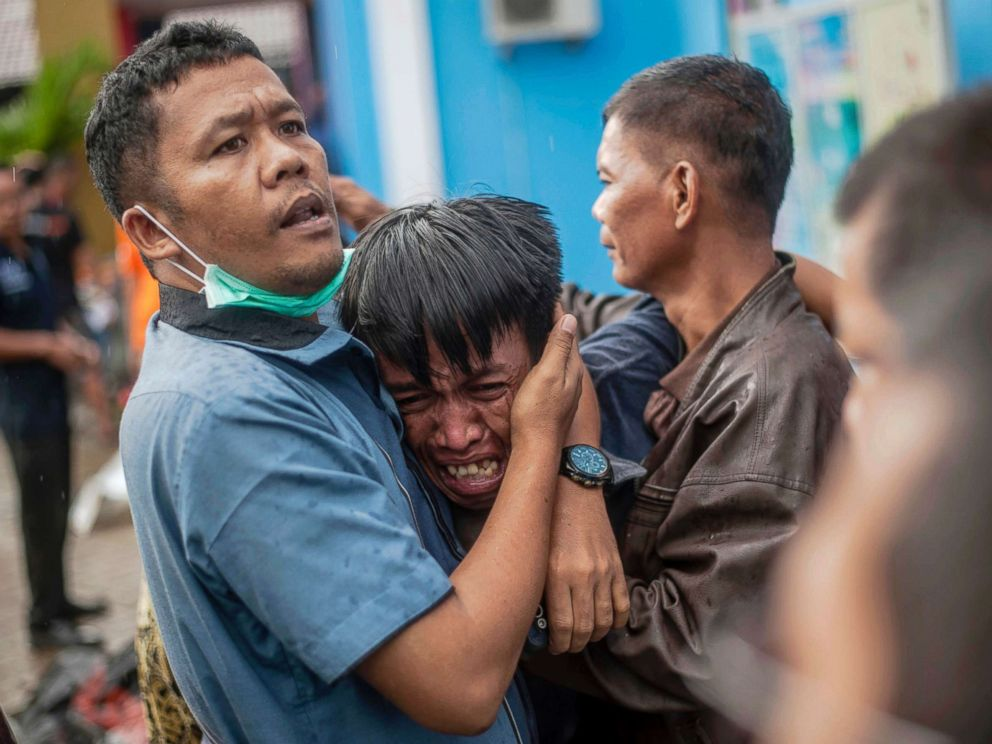 PHOTO: A man reacts after identifying his relative among the bodies of tsunami victims in Carita, Indonesia, Dec. 23, 2018.