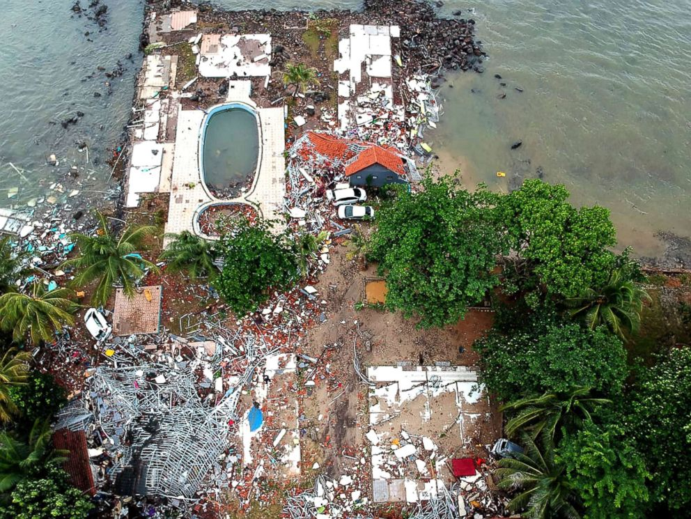 PHOTO: An aerial photo shows damaged buildings in Carita, Indonesia, Dec. 23, 2018.