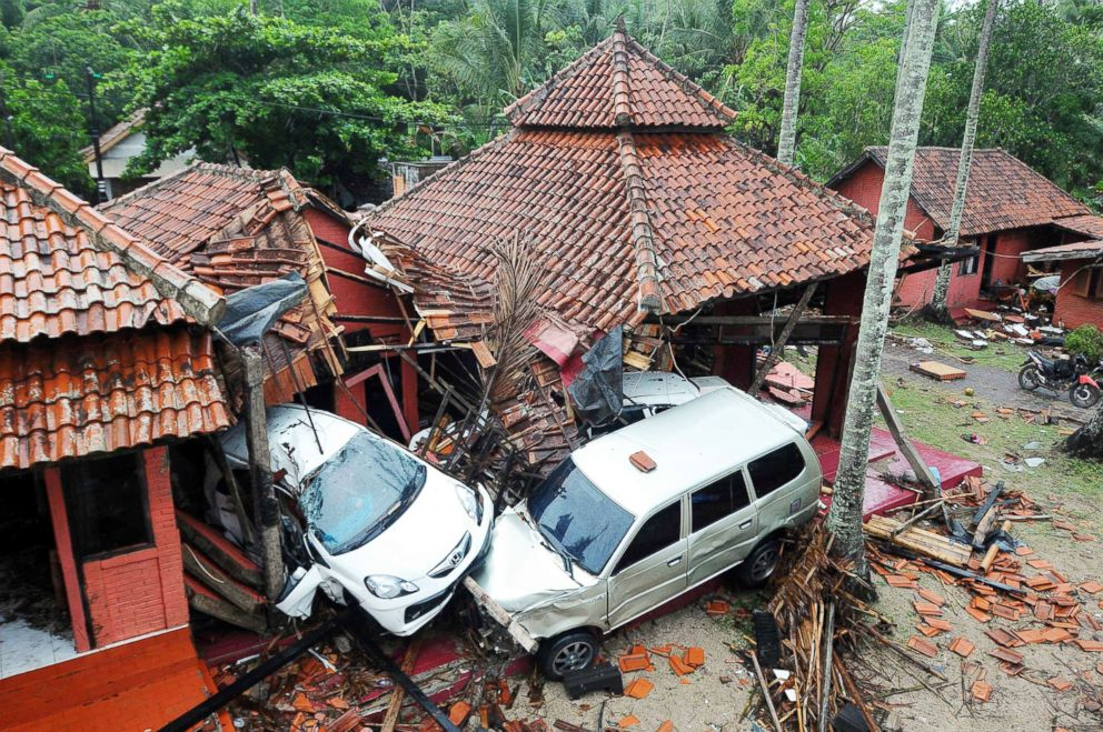 PHOTO: Damaged buildings and cars are seen in Anyer, Serang, Indonesia, Dec. 23, 2018.