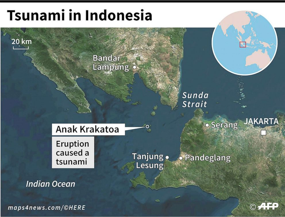 PHOTO: Map locating the Anak Krakatoa volcano and the zone hit by a tsunami in Indonesia.