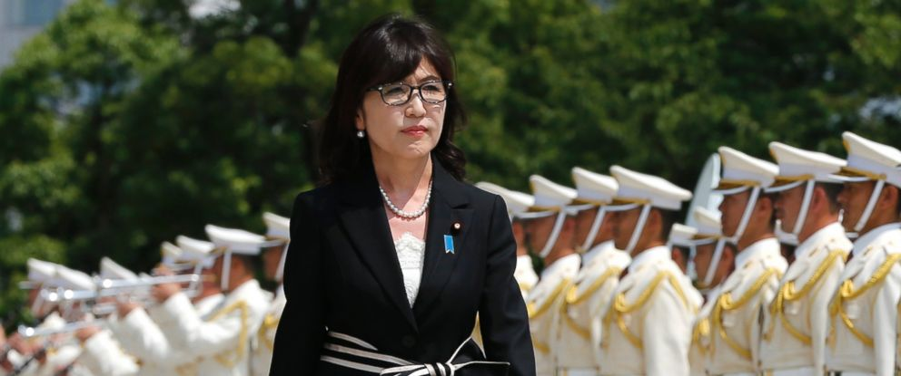 PHOTO: Japans new Defense Minister, Tomomi Inada, inspects a honor guard on her first day at the Defense Ministry in Tokyo, Aug. 4, 2016.