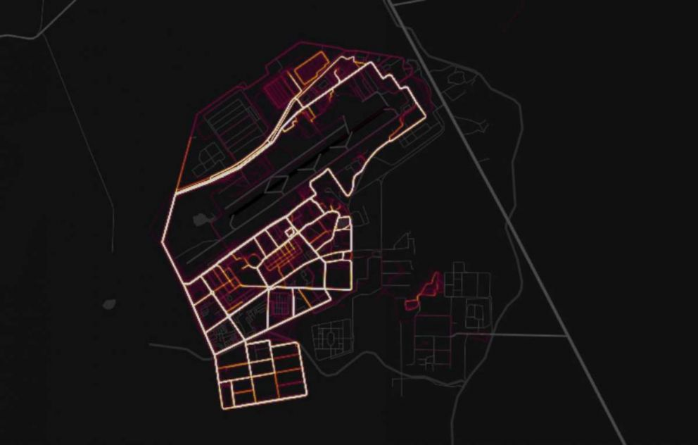 PHOTO: Data released by GPS tracking company Strava in November 2017 shows where the users of fitness devices are around the world, including Kandahar Airfield in Afghanistan, as shown in this screenshot.