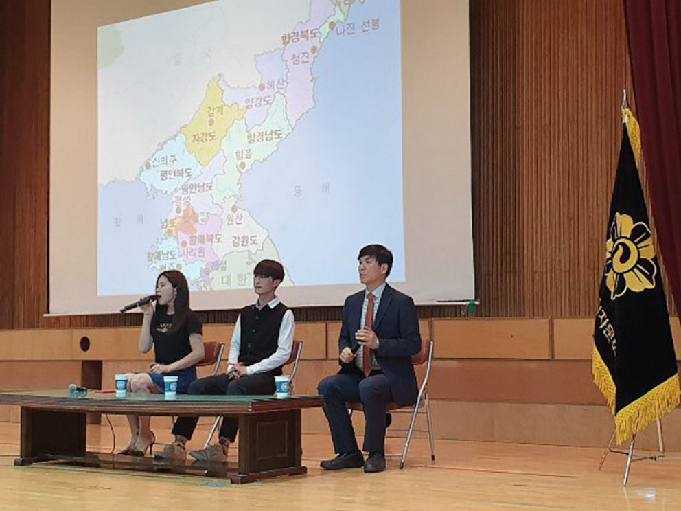 PHOTO: Kim Kangyoo, center, is a sophomore at the Seoul-based Sogang University. Kim defected to South Korea through the demilitarized zone in 2016 and gives lectures on the experience of defection to students and military men.