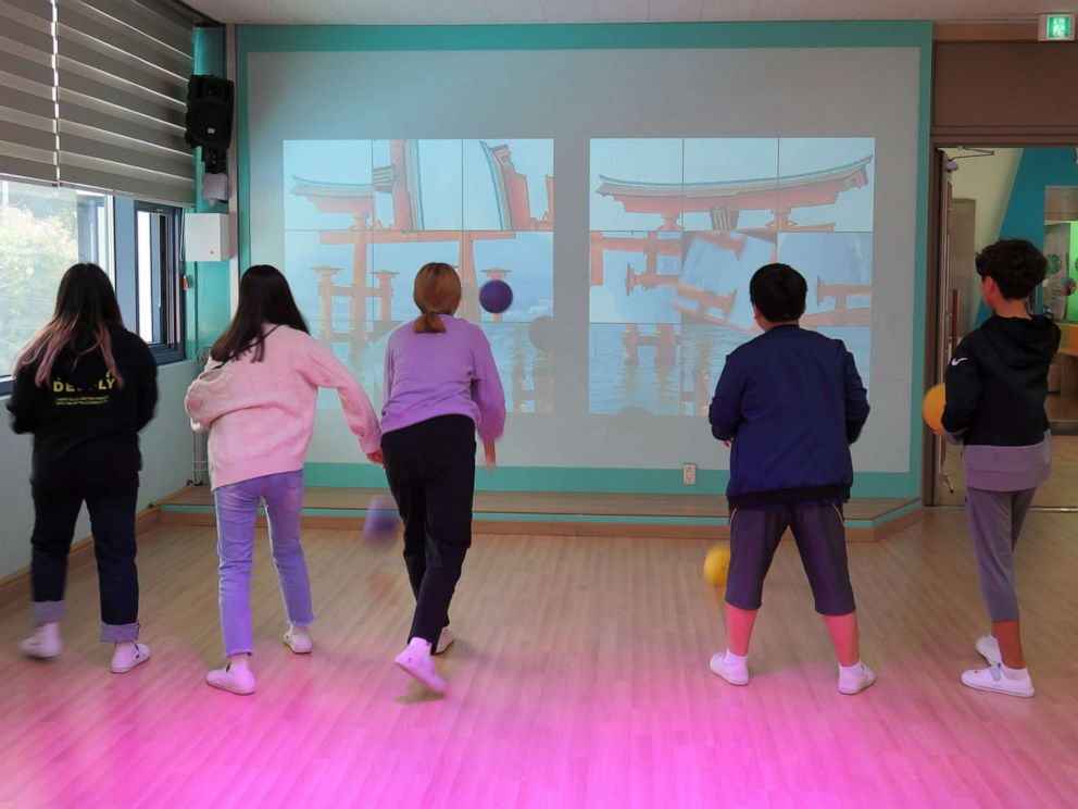 PHOTO: Students engage in Mixed Reality (MR) sports game at Tae Sung Dong Elementary School in Paju, South Korea, Sept. 30, 2019.