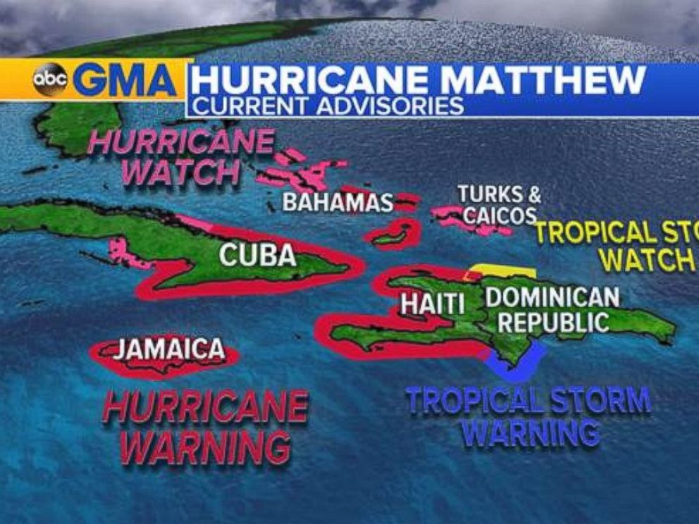 PHOTO: Hurricane Matthew threatened several Caribbean countries with storm surge and flooding on October 3, 2016.