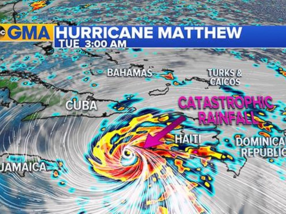 PHOTO: Hurricane Matthew threatened catastrophic flash flooding with up to 40 inches of rain forecast in spots on October 3, 2016.
