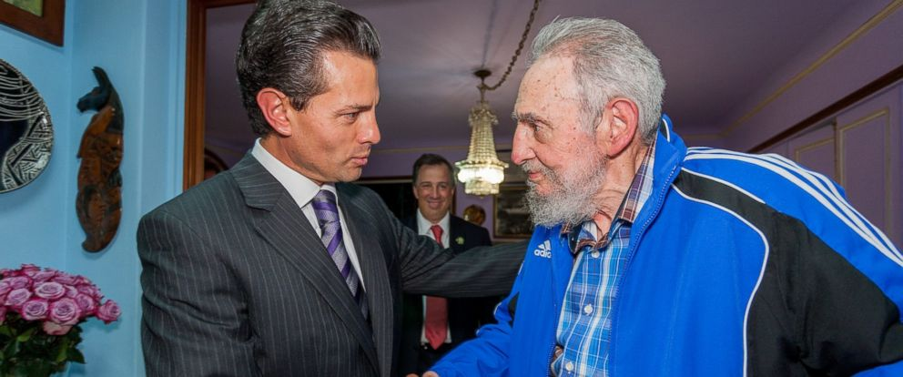 PHOTO: Mexicos president, Enrique Pena Nieto and Fidel Castro are seen here in this undated file photo.