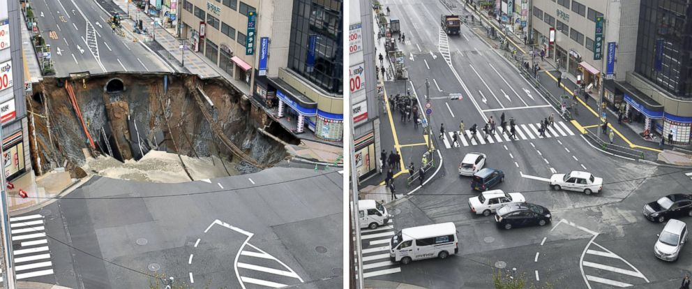 PHOTO: This photo combo shows a huge sinkhole, left, on a major road near JR Hakata Station in the southwestern Japan city of Fukuoka on Nov. 8, 2016 and the road reopening, right, on Nov. 15 after being filled with earth.